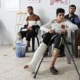 Patients in the waiting area of Gaza clinic, (...)